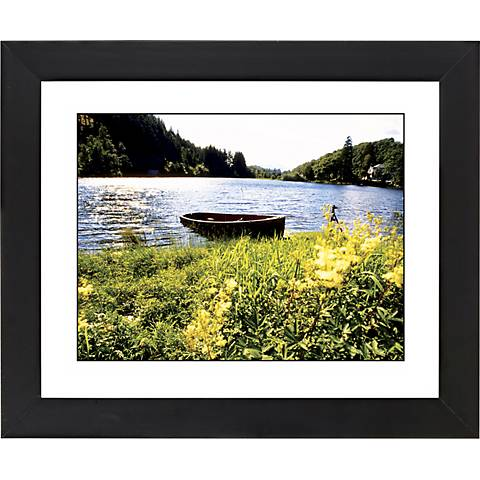 """Lake Fishing Boat Black Frame Giclee 23 1/4"""" Wide Wall Art"""