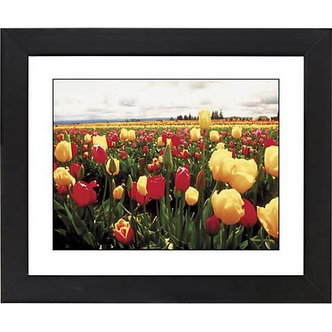 """Tulip Field Black Frame Giclee 23 1/4"""" Wide Wall Art"""