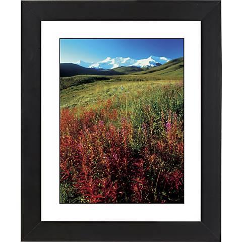 "Snowy Mount W/Wildflowers Black Frame 23 1/4"" High Wall Art"