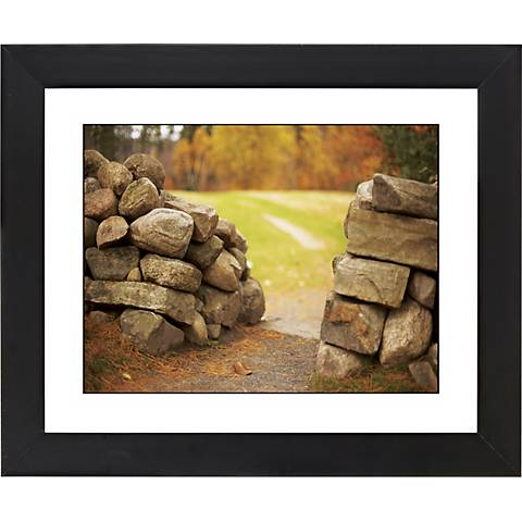 """Stone Wall In Autumn Black Frame 23 1/4"""" Wide Wall Art"""