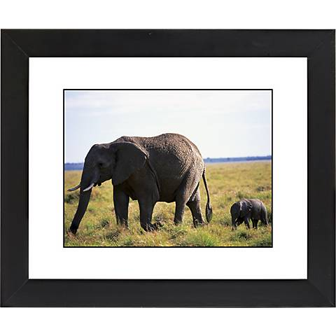 "African Elephant And Calf Black Frame 23 1/4"" Wide Wall Art"