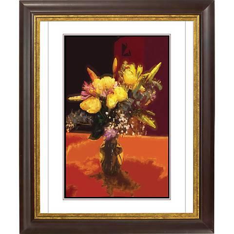 """Spring Flowers Gold Bronze Frame 24 1/2"""" High Wall Art"""