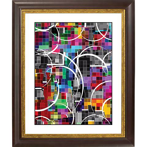 "Neon Vapor Gold Bronze Frame Giclee 20"" High Wall Art"