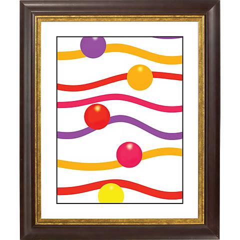 "Floating Paper Gold Bronze Frame Giclee 20"" High Wall Art"