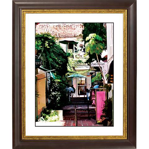 """Sidewalk Cafe Gold Bronze Frame Giclee 20"""" High Wall Art"""