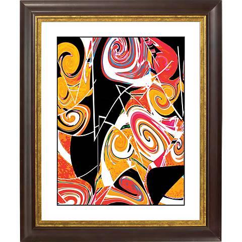 """Dark Valentine Gold Bronze Frame Giclee 20"""" High Wall Art"""