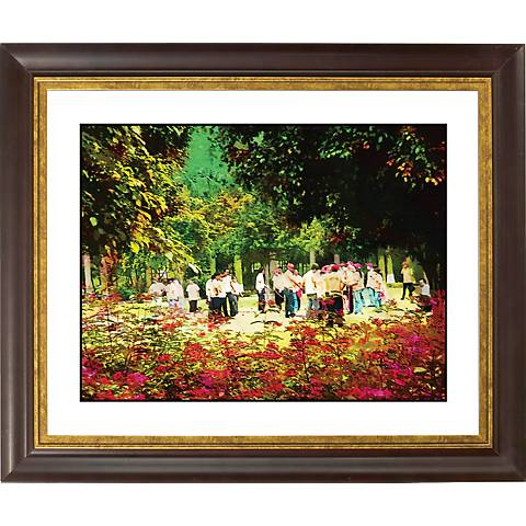 """At The Park Gold Bronze Frame Giclee 20"""" Wide Wall Art"""