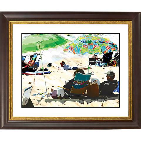 "Sun And Sand Gold Bronze Frame Giclee 20"" Wide Wall Art"