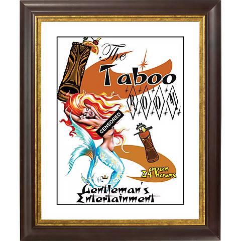 """Taboo Mermaid Gold Bronze Frame Giclee 20"""" High Wall Art"""