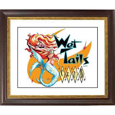 "Wet Tails II Mermaid Gold Bronze Frame 20"" Wide Wall Art"