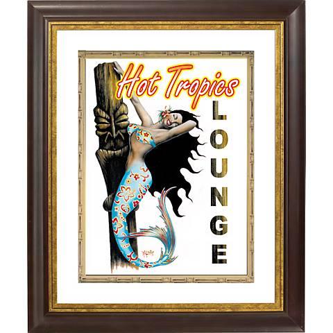 "Hot Tropical Mermaid Gold Bronze Frame 20"" High Wall Art"