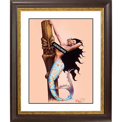 "Tiki Tails Gold Bronze Frame Giclee 20"" High Wall Art"