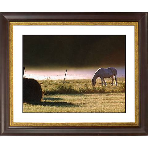 """Pasture Gold Bronze Frame Giclee 20"""" Wide Wall Art"""
