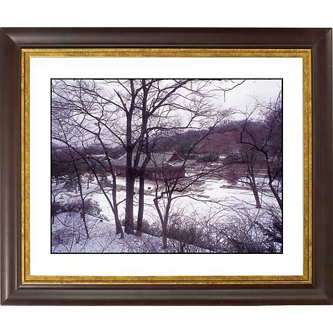 """Asian House In Winter Gold Bronze Frame 20"""" Wide Wall Art"""