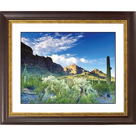 "Cactus Field Gold Bronze Frame Giclee 20"" Wide Wall Art"