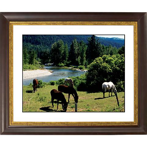 """Mountain Creek Gold Bronze Frame Giclee 20"""" Wide Wall Art"""