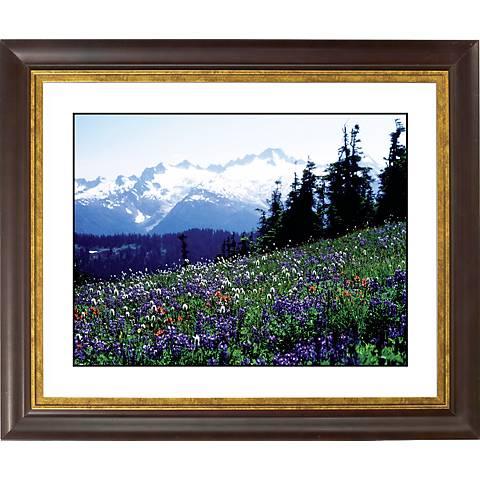 """Flower Field Gold Bronze Frame Giclee 20"""" Wide Wall Art"""