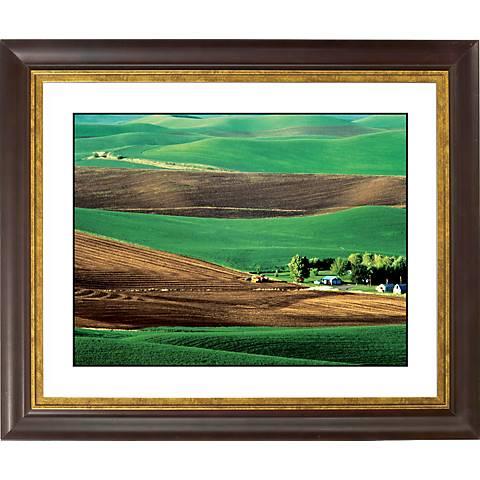 "Rolling Fields Gold Bronze Frame Giclee 20"" Wide Wall Art"