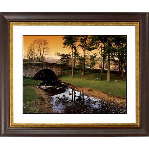 "Stone Bridge Gold Bronze Frame Giclee 20"" Wide Wall Art"
