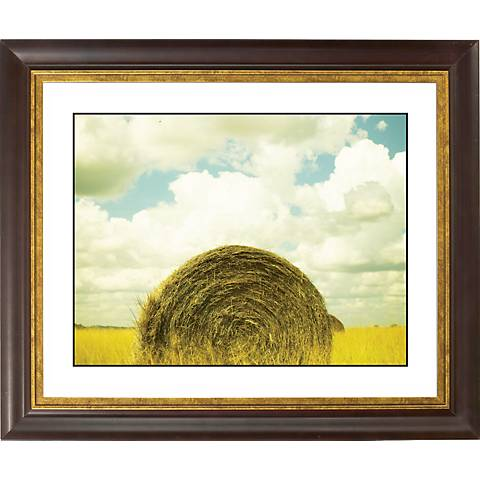 "Hay Bale Gold Bronze Frame Giclee 20"" Wide Wall Art"