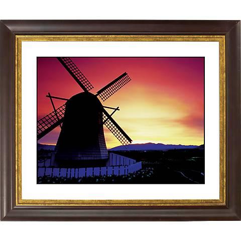 """Windmill Sunset Gold Bronze Frame Giclee 20"""" Wide Wall Art"""
