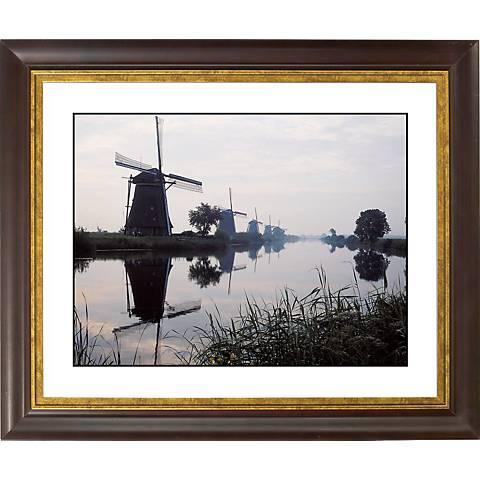 "Reflected Windmill Gold Bronze Frame 20"" Wide Wall Art"