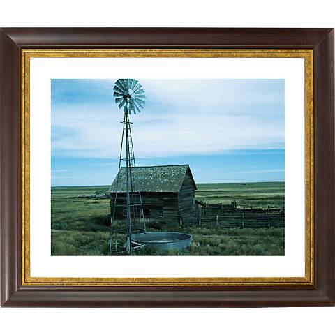 "Montana Windmill Gold Bronze Frame Giclee 20"" Wide Wall Art"
