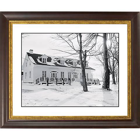 """Snowy Day Gold Bronze Frame Giclee 20"""" Wide Wall Art"""