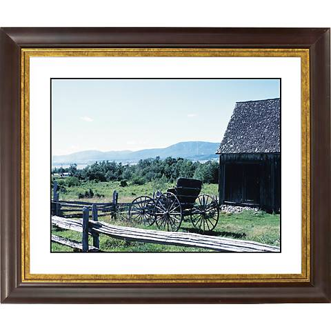 "Fence Line Gold Bronze Frame Giclee 20"" Wide Wall Art"