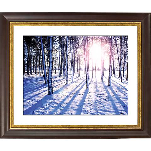 """Snow Field Gold Bronze Frame Giclee 20"""" Wide Wall Art"""