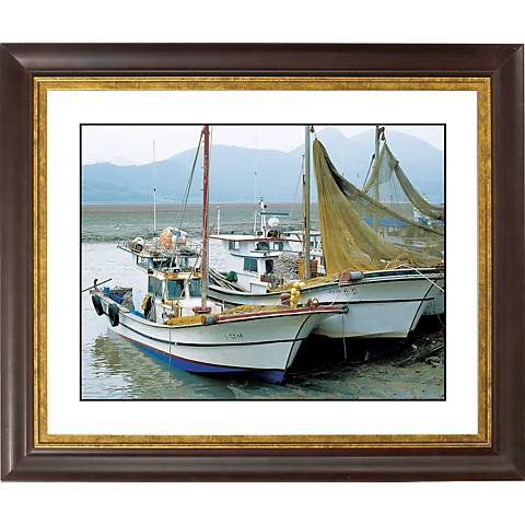 "Fishing Boats Gold Bronze Frame Giclee 20"" Wide Wall Art"
