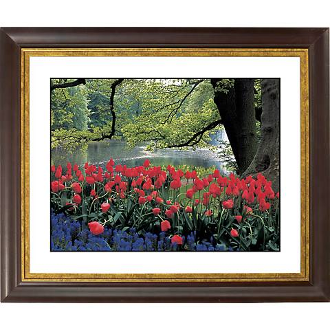 "Red Spring Gold Bronze Frame Giclee 20"" Wide Wall Art"