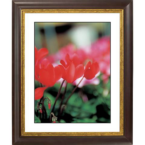 "Red Poppy Gold Bronze Frame Giclee 20"" High Wall Art"