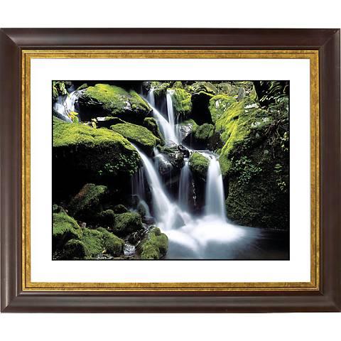 "Falling Water Gold Bronze Frame Giclee 20"" Wide Wall Art"