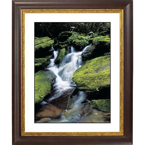 """Waterfall Gold Bronze Frame Giclee 20"""" High Wall Art"""