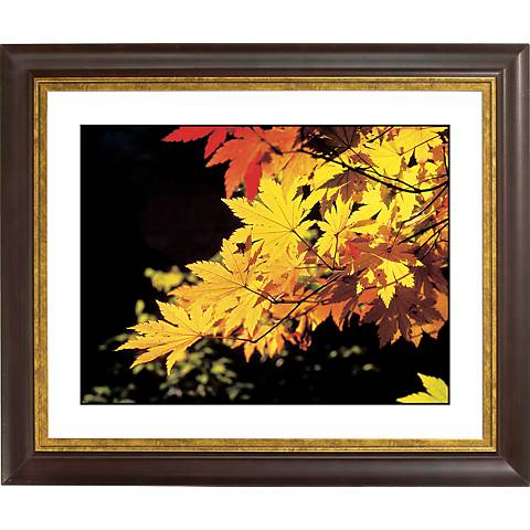 """Autumn Leaves Gold Bronze Frame Giclee 20"""" Wide Wall Art"""