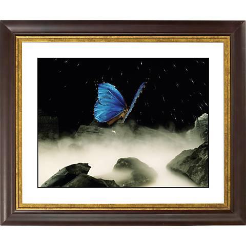 """Blue Butterfly Gold Bronze Frame Giclee 20"""" Wide Wall Art"""