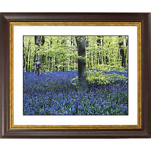 "Blue Poppies Gold Bronze Frame Giclee 20"" Wide Wall Art"