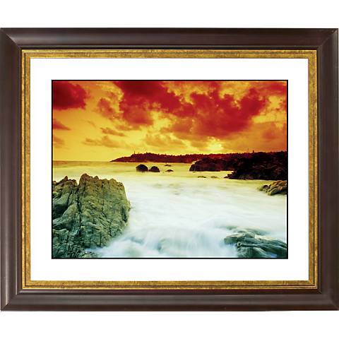 "Waterfall III Gold Bronze Frame Giclee 20"" Wide Wall Art"