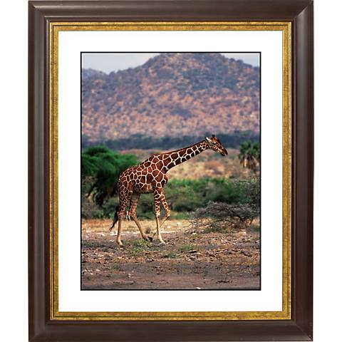 "Serengeti Giraffe Run Gold Bronze Frame 20"" High Wall Art"