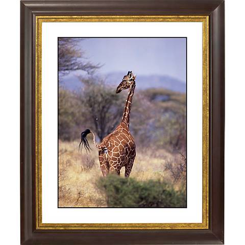 "Serengeti Giraffe Gold Bronze Frame Giclee 20"" High Wall Art"