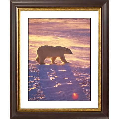 """Polar Bear Gold Bronze Frame Giclee 20"""" High Wall Art"""