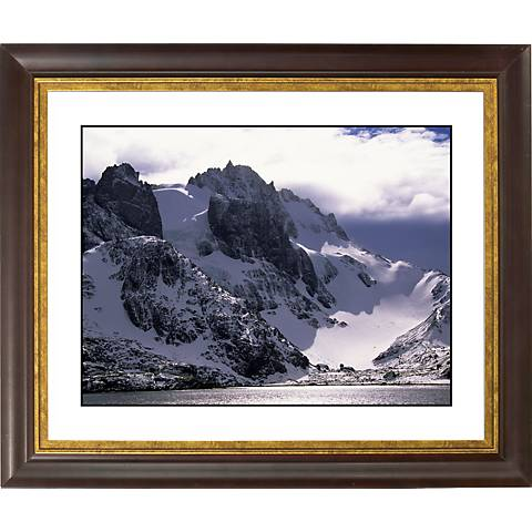 """Icy Mountain View Gold Bronze Frame Giclee 20"""" Wide Wall Art"""