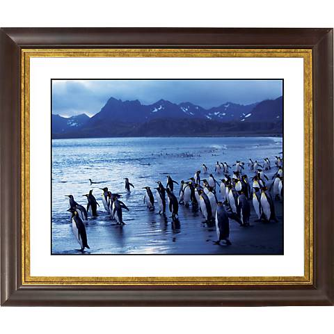 "Penguin Flock Gold Bronze Frame Giclee 20"" Wide Wall Art"