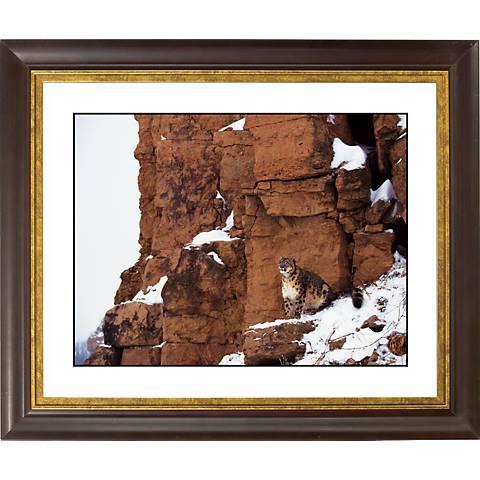 """Mountain Perch Gold Bronze Frame Giclee 20"""" Wide Wall Art"""