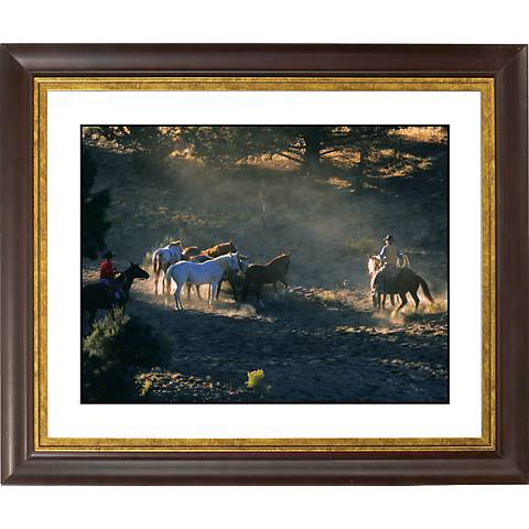 "Mountain Roundup Gold Bronze Frame Giclee 20"" Wide Wall Art"