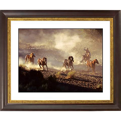 """Dusty Roundup Gold Bronze Frame Giclee 20"""" Wide Wall Art"""