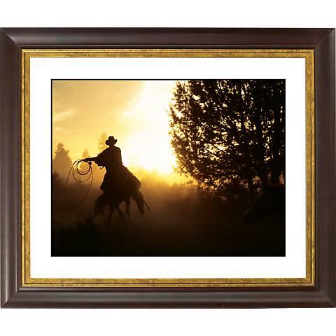 """Cowboy Roundup Gold Bronze Frame Giclee 20"""" Wide Wall Art"""