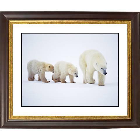 """Polar Bear And Cubs Gold Bronze Frame 20"""" Wide Wall Art"""