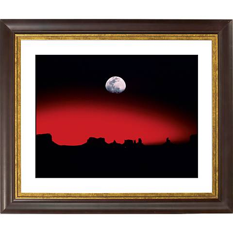 "Moonrise Over Desert Gold Bronze Frame 20"" Wide Wall Art"